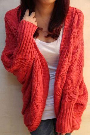 Irregular thick needles loose bat-wig cardigan sweater