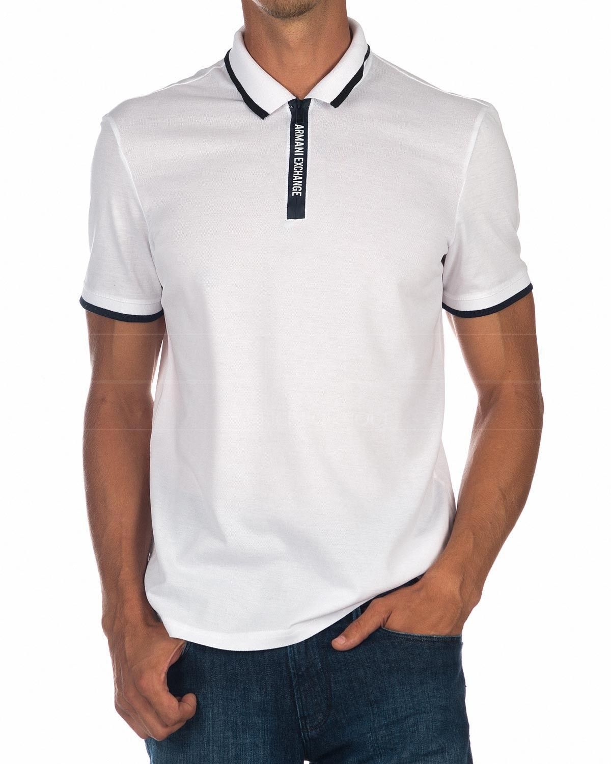 5cd7e78b9 Polo Armani Exchange Zip Up - Blanco en 2019