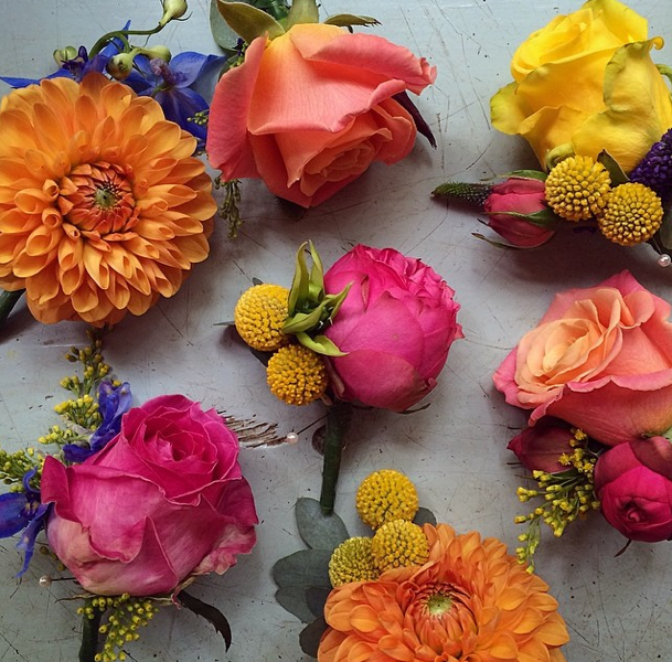 Wedding Flowers Edinburgh: Bright Mismatched Buttonholes By Fairy Nuff