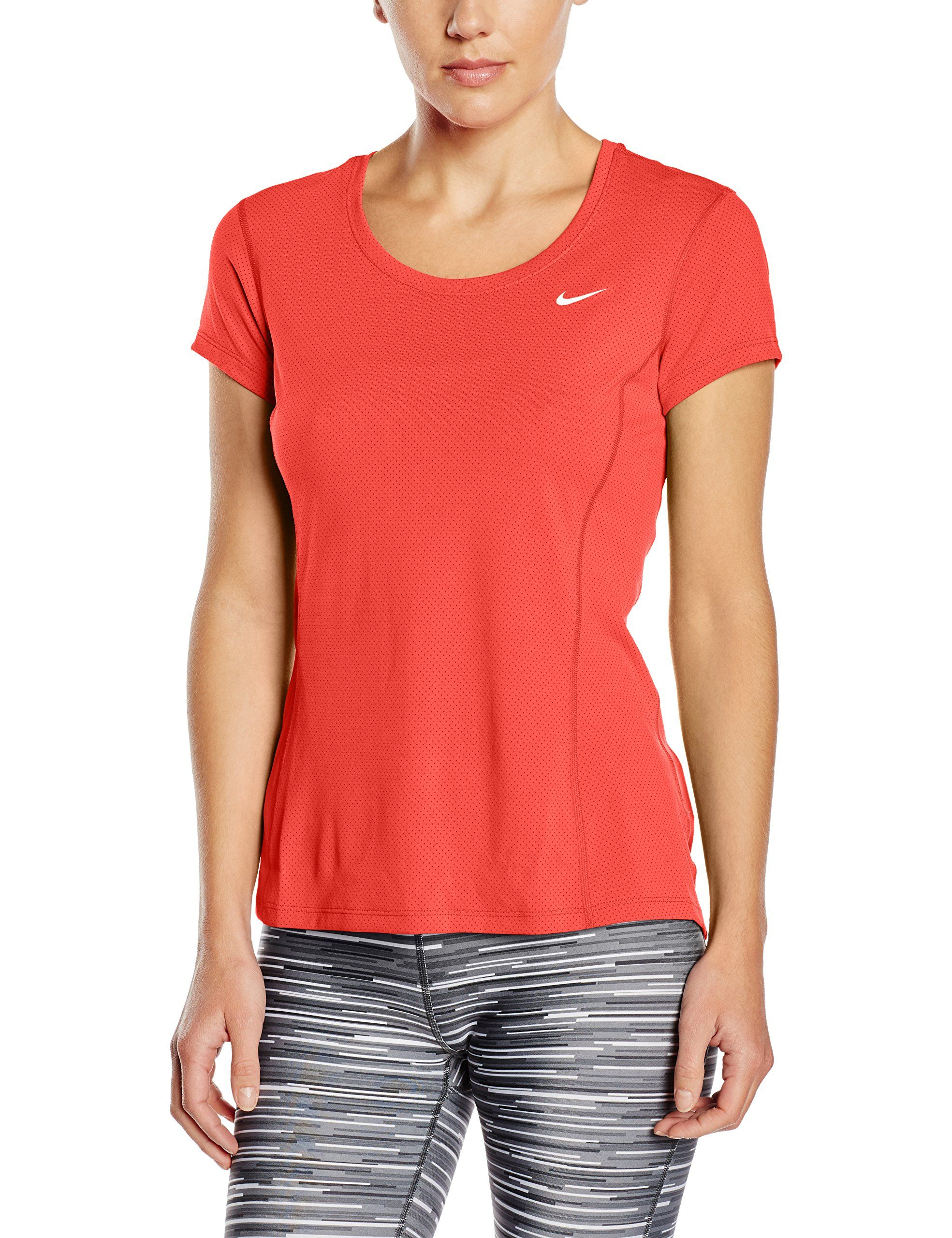 Nike Womens Dri-FIT Contour Short Sleeve Light Crimson/Reflective Silver  T-Shirt XS. Lightweight Dri-FIT/STAY COOL mesh fabric wicks away sweat and  helps ...