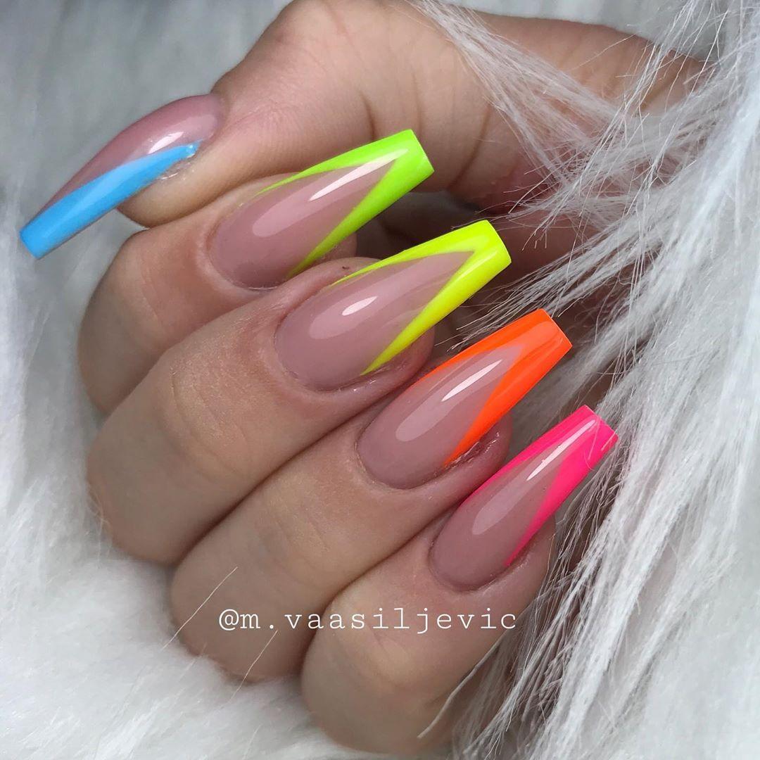 Maja Vasiljevic On Instagram Neons From Jet Set Beauty Nails Neon Sky Neon Mojito Neon Lemon H In 2020 Bright Acrylic Nails Neon Acrylic Nails Summer Acrylic Nails