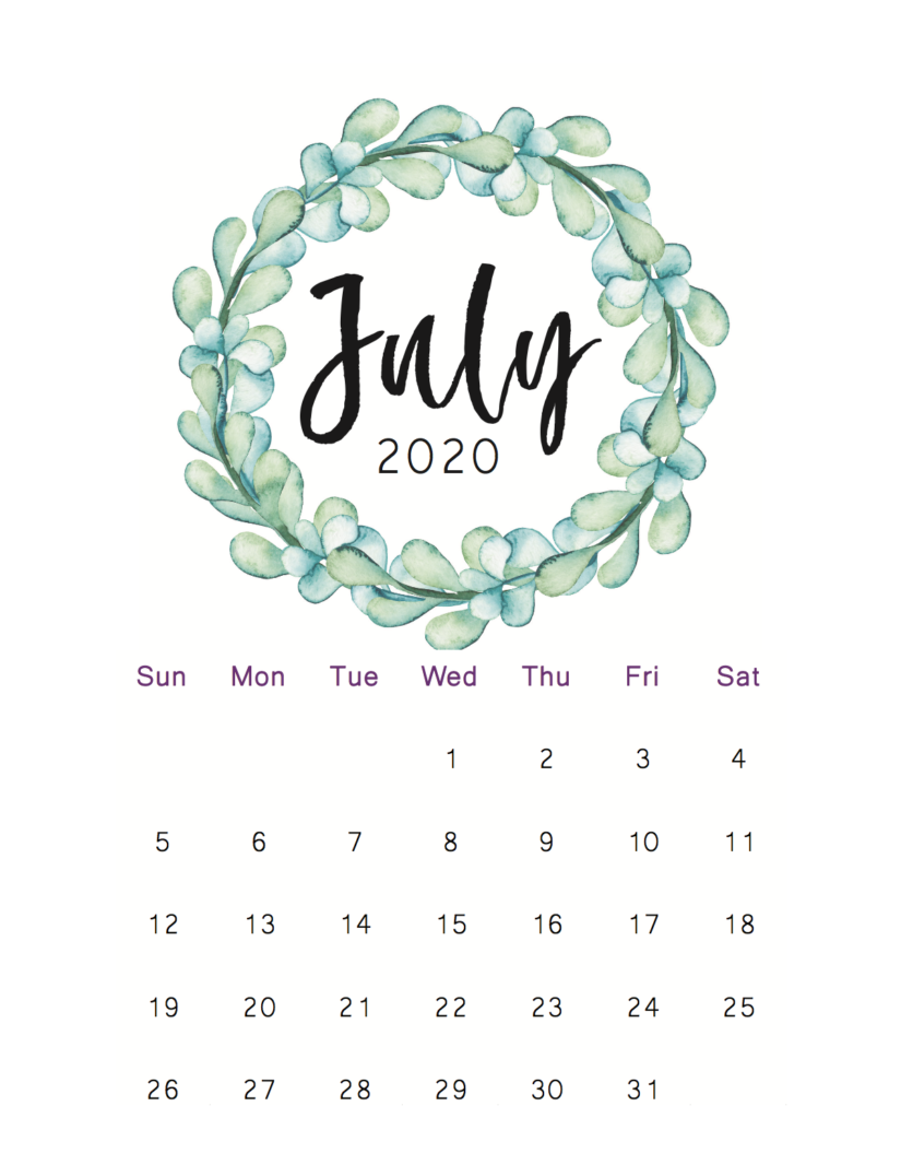 30 Printable July 2020 Calendars to Get for Free in 2020 ...