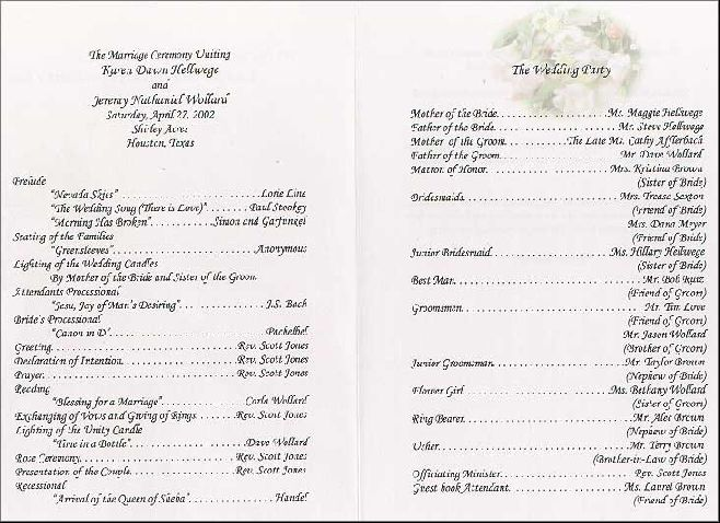 wedding reception programme sample