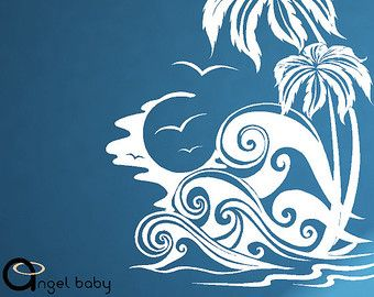 Beach Vinyl Wall Graphic Palm Tree And Ocean Wave Decal Beach