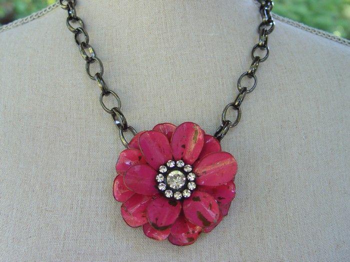 Large Flower Necklace Fuchsia Flower Necklace Necklace Fuchsia Flower