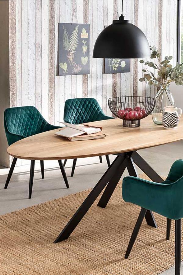 Essgruppe Jaino Mit Ovalem Tisch Und Polsterstuhlen In Dunkelgrun In 2020 Ovaler Tisch Esstisch Modern Design Tisch