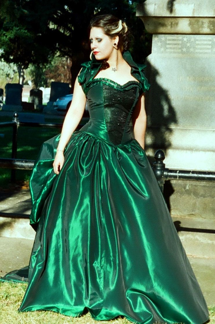 Emerald Isle Gown Custom Made Bustle Victorian Gown Via Etsy Gowns Satin Dress Long Masquerade Gown [ 1116 x 742 Pixel ]