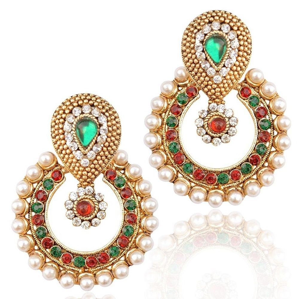 Dazzling Red & Green Stone Gold Plated Party Wear White Pearl Bollywood Earring #natural_gems15