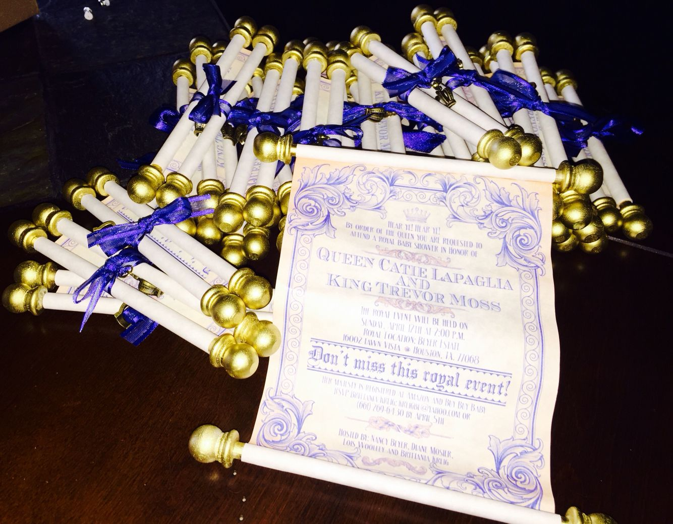 Royal Prince Baby Shower Scroll Invitations