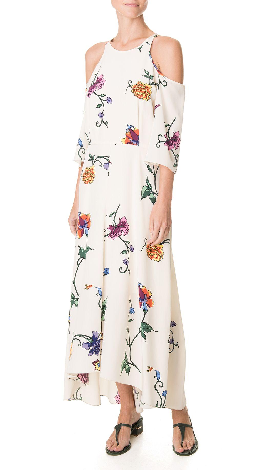 a32e07caab35f Tibi Bella Floral Cut Out Shoulder Dress in White (Opal Beige ...