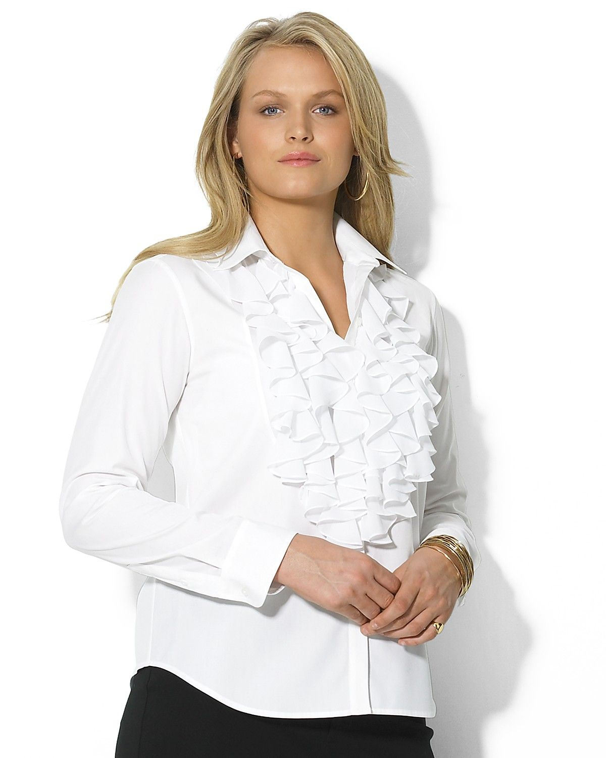 Find a Woman's White Ruffle Blouse, Plus Size White Ruffle Blouse and more at Macy's. Macy's Presents: The Edit - A curated mix of fashion and inspiration Check It Out Free Shipping with $49 purchase + Free Store Pickup.