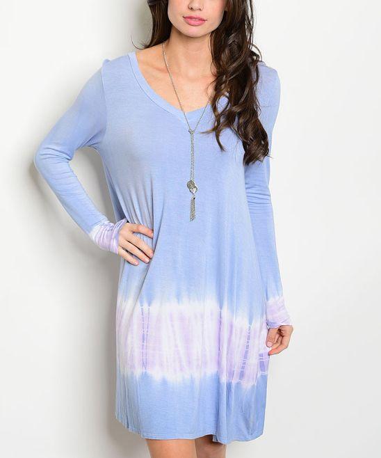 Blue Tie-Dye V-Neck Dress