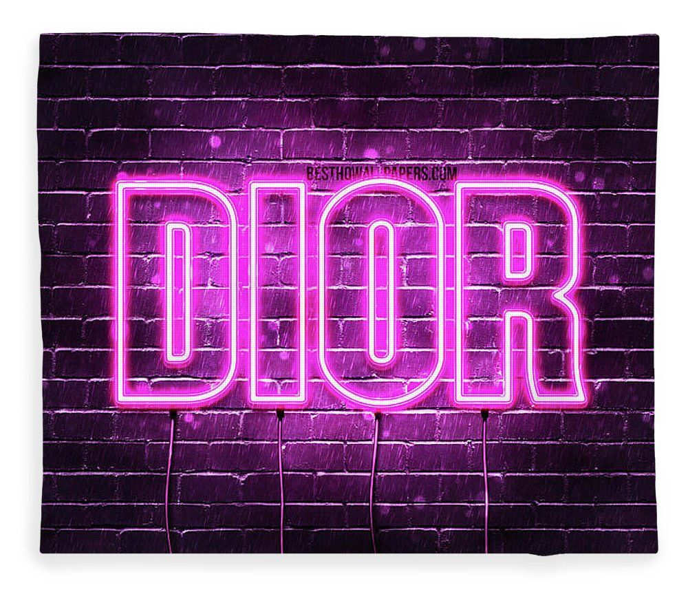 Chic Pink Neon Sign Fleece Blanket for Sale by Dior in