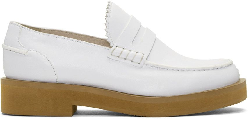7b39719ae6a Jil Sander Navy - White Leather Galaxy Loafers