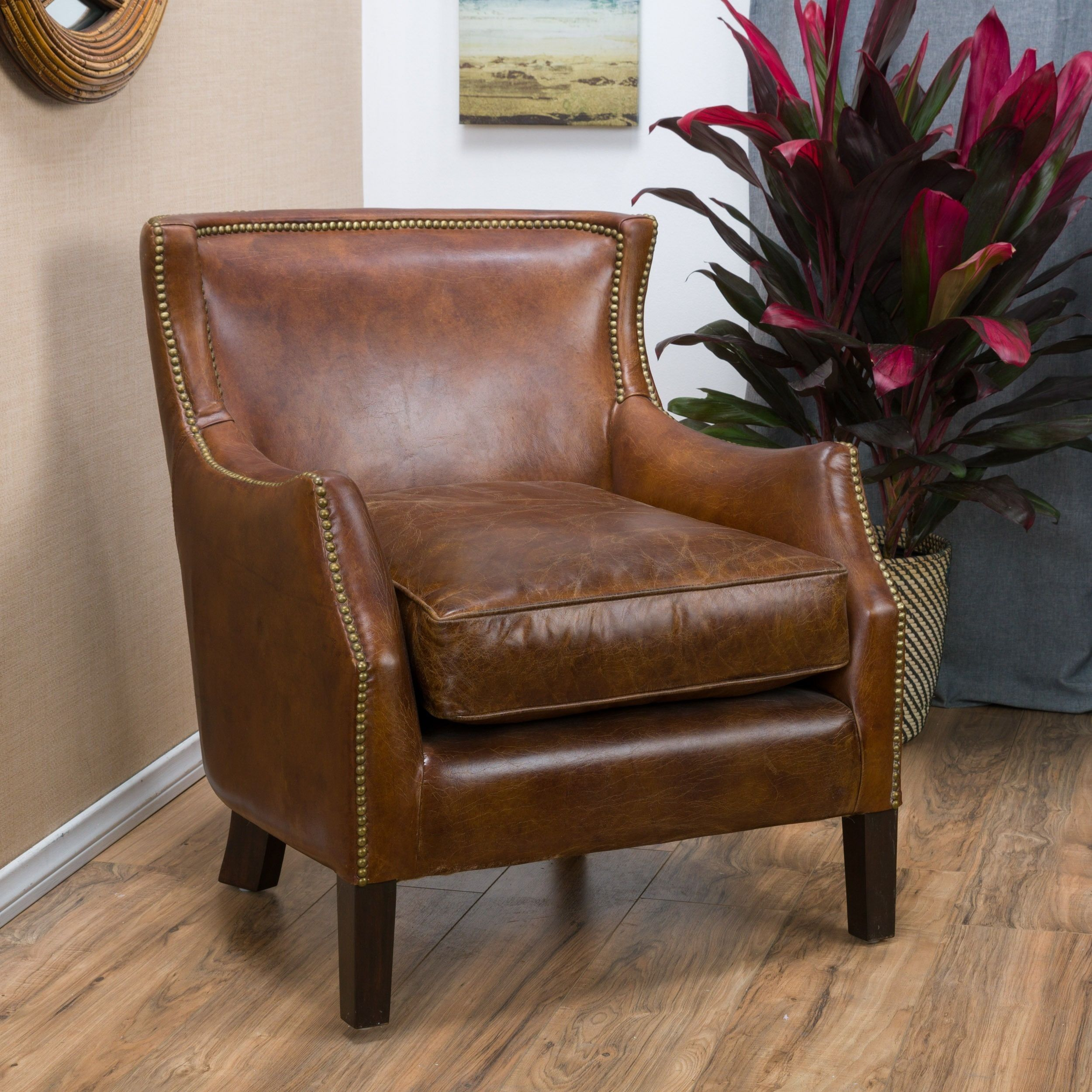 christopher knight club chair hercules office chairs tillo top grain vintage brown leather by home