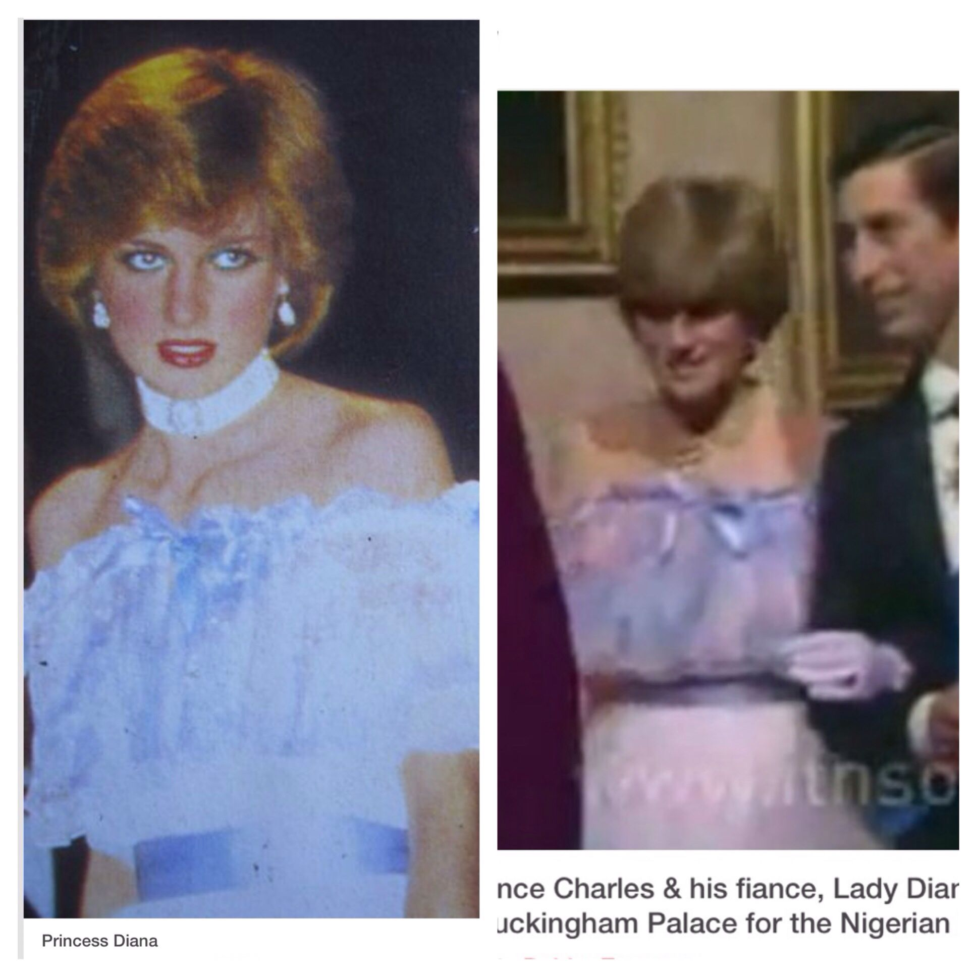 Diana on right 1981 and left later while pregnant with William 1981