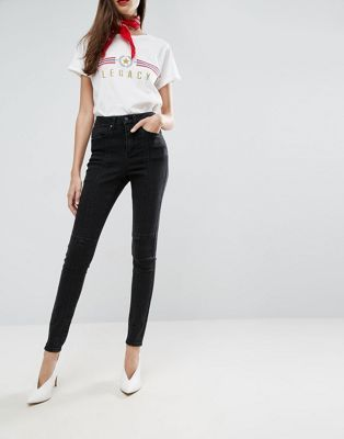 7fb26c6cbc5 Черные выбеленные джинсы с завышенной талией и вставками ASOS SCULPT ...