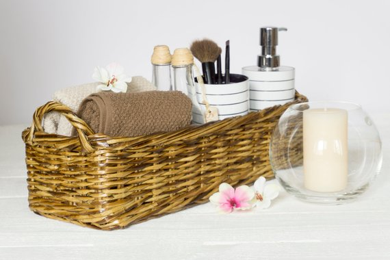 Bathroom Storage Wicker Basket Vanity Tray With Handles Catch All Perfume Small Bin Dre