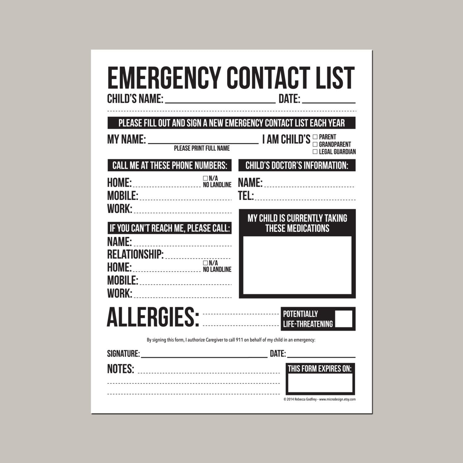 Emergency Contact Form for Nanny Babysitter or by microdesign | Camp ...