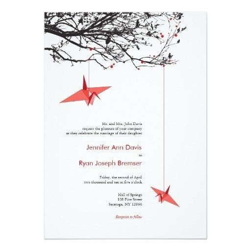 Photo of Love Quote Origami Paper Cranes Wedding Invitation Collection