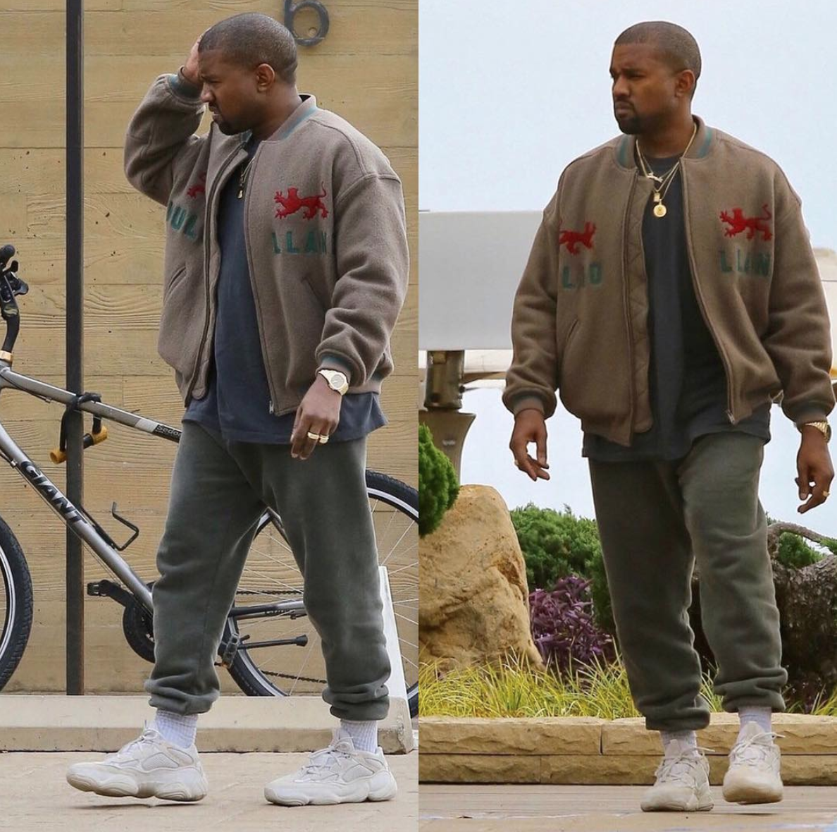 8fdc85ca8 SPOTTED  Kayne West In YEEZY Season 5 Jacket And adidas YEEZY Mud Rat 500  Sneakers – PAUSE Online