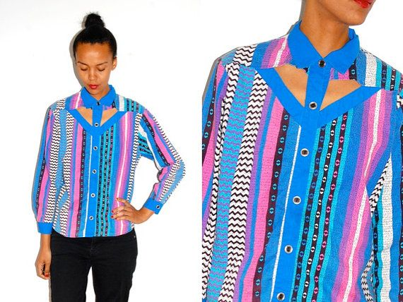 Vtg Colorful Tribal Printed CUT OUT Chest Button by LuluTresors, $29.99