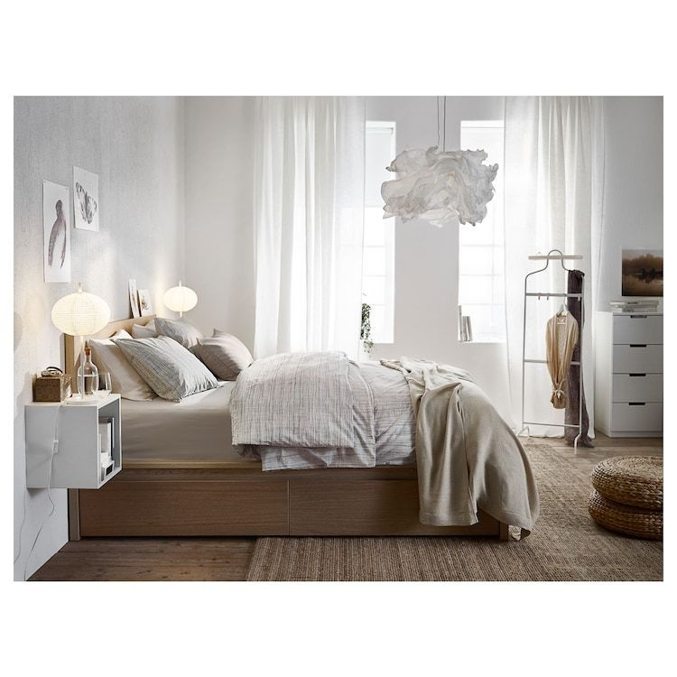 Malm High Bed Frame 2 Storage Boxes White Stained Oak Veneer Luroy Ikea In 2020 Bedroom Design Malm Bed Ikea Bedroom