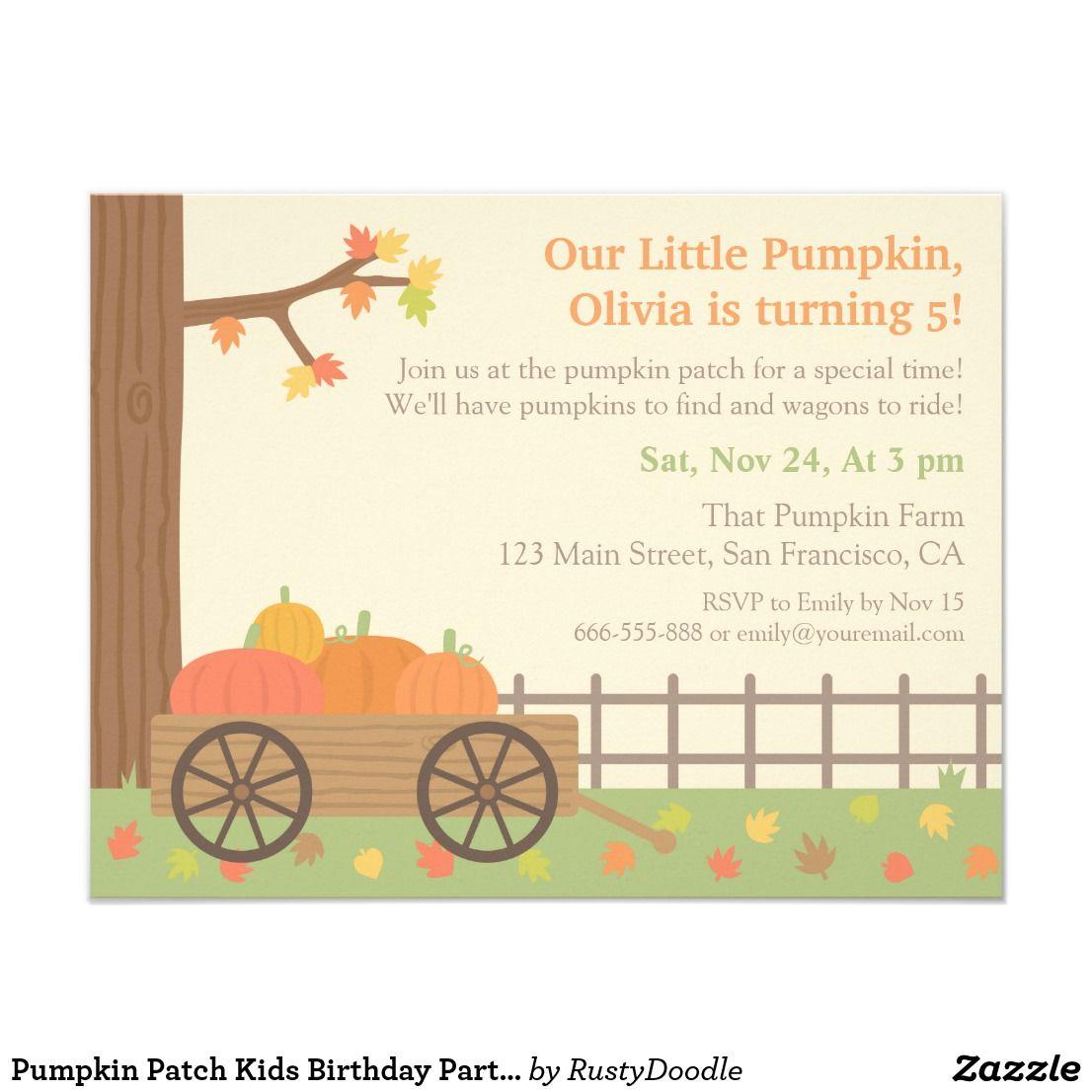 Pumpkin Patch Kids Birthday Party Invitations | Kid\'s Birthdays ...