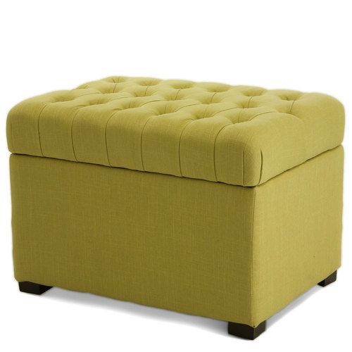 Tiller lime fabric storage ottoman ebay products i for Storage ottomans fabric