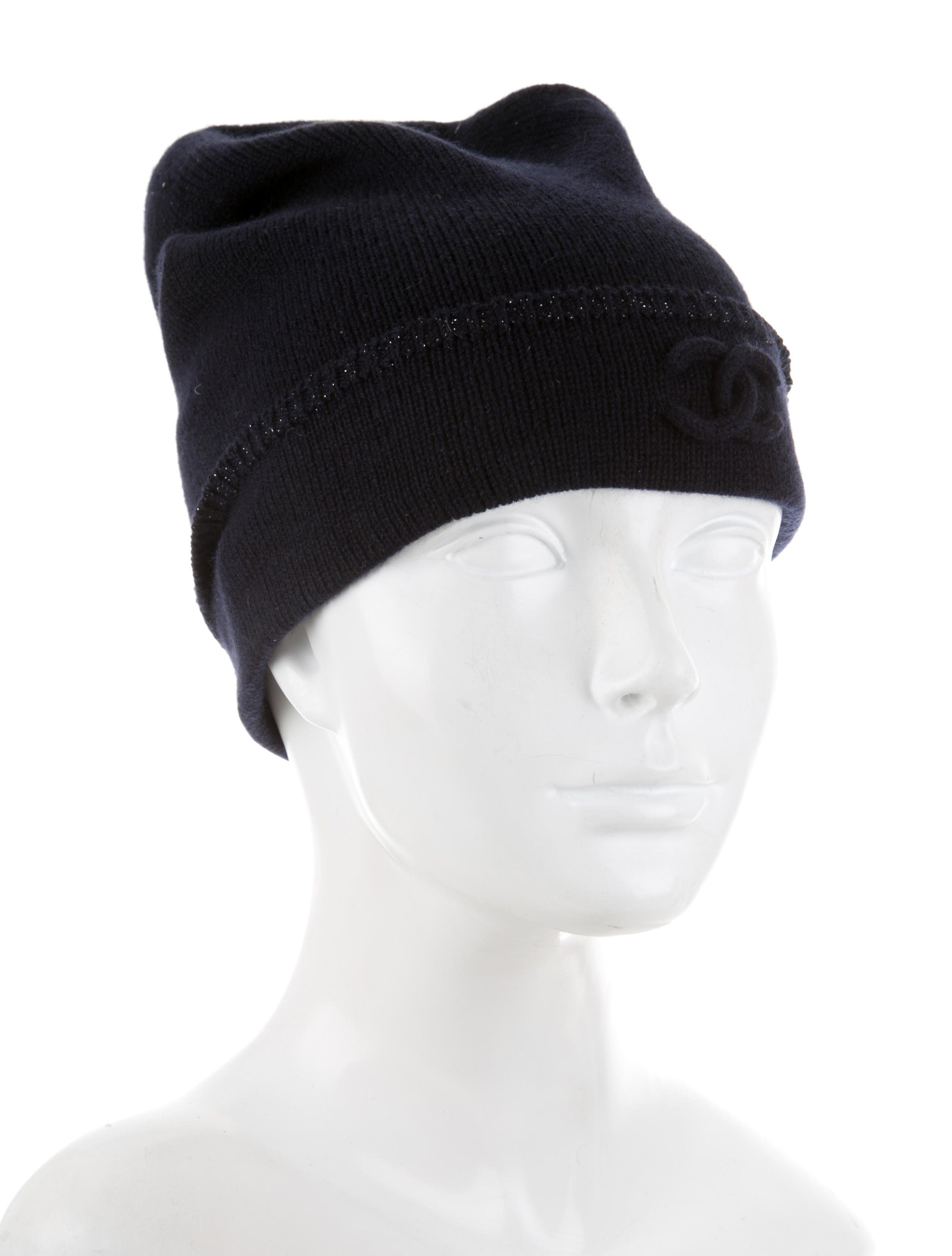 fcfa83b9d27 Midnight Chanel cashmere beanie with metallic trim and interlocking CC  accent at front.