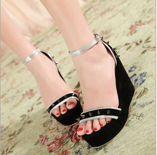 Summer New Arrival T-Strap Rivet Embellished Wedge Sandals for Ladies on BuyTrends.com, only price $22.23