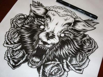 Lineart Wolf Tattoo : Feel the need ink 3 dribbble illustration pinterest tattoo