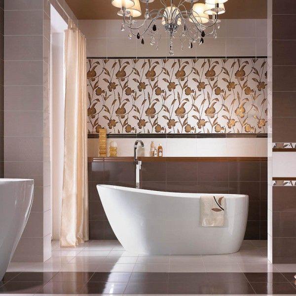 Badezimmerfliesen mit Blumenmotiv-badezimmer fliesen ideen - badezimmer fliesen bilder