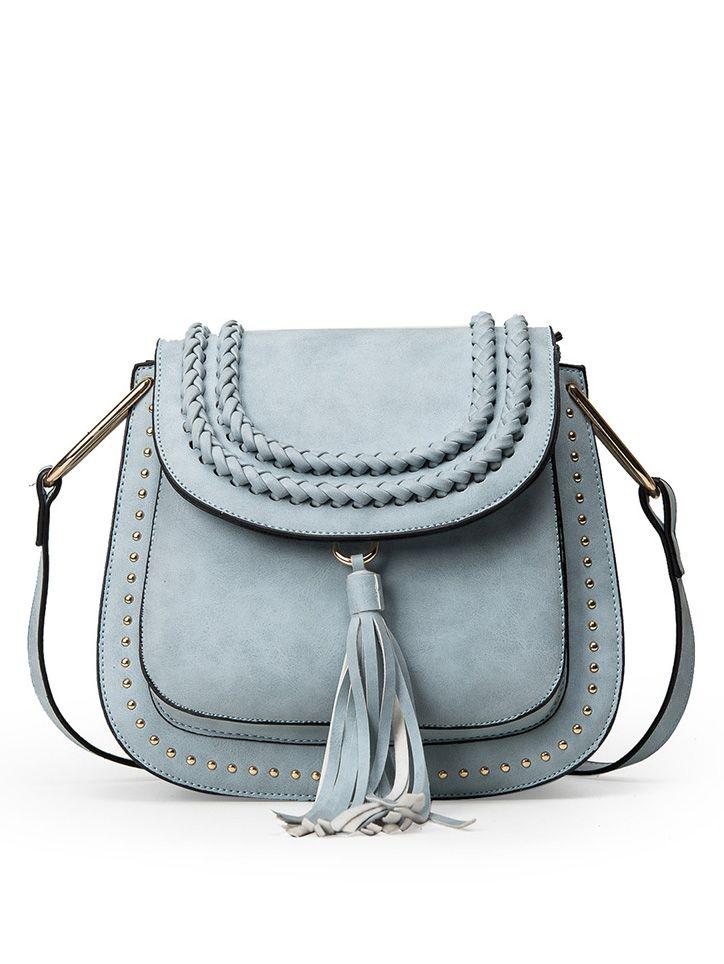 1a6208cc10 Shop Braided Tassel Trimmed Studded Saddle Bag - Light Blue online. SheIn  offers…