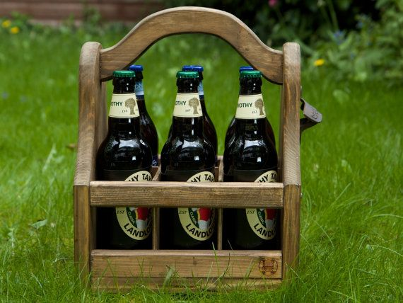 These rustic style bottle carriers / totes are handmade here in the UK Each one is constructed individually to order. This will hold 6 bottles (up to 75mm in diameter) which is essentially all uk bottles with the exception of the Shepherds Neame brand as the bottles are very wide.
