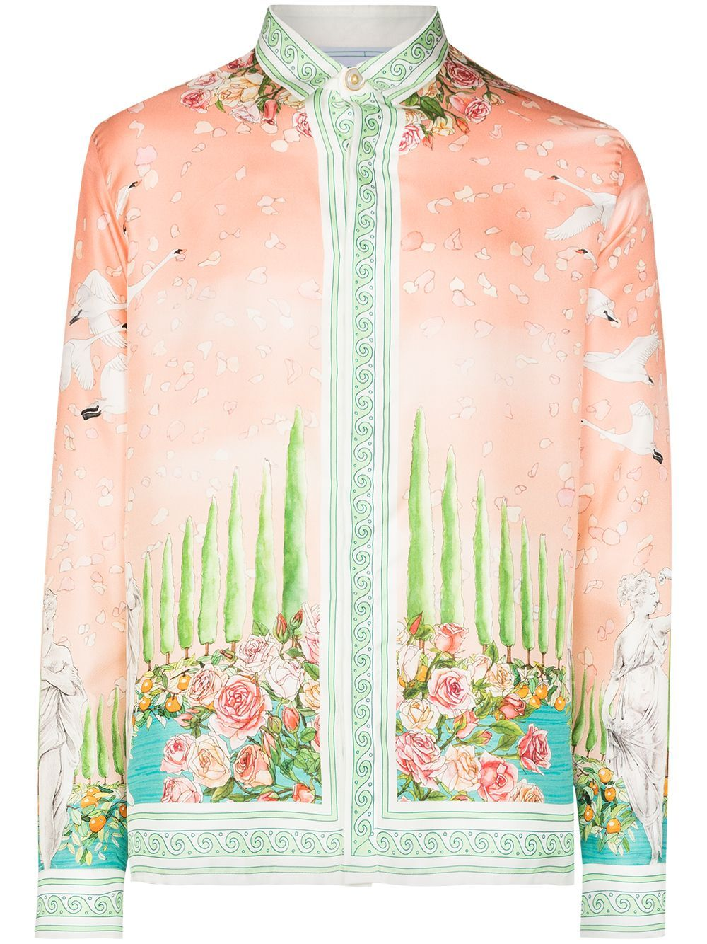 Pink silk Maison De Repos print shirt from CASABLANCA featuring logo print to the rear, spread collar, concealed front button fastening, long sleeves, buttoned cuffs and relaxed shape.