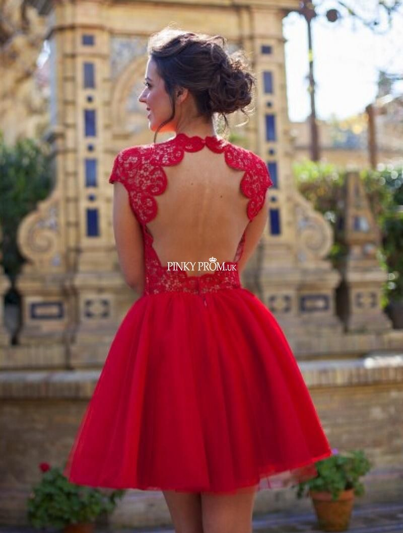 Red cap sleeve lace chiffon prom dress with sexy keyhole back ...