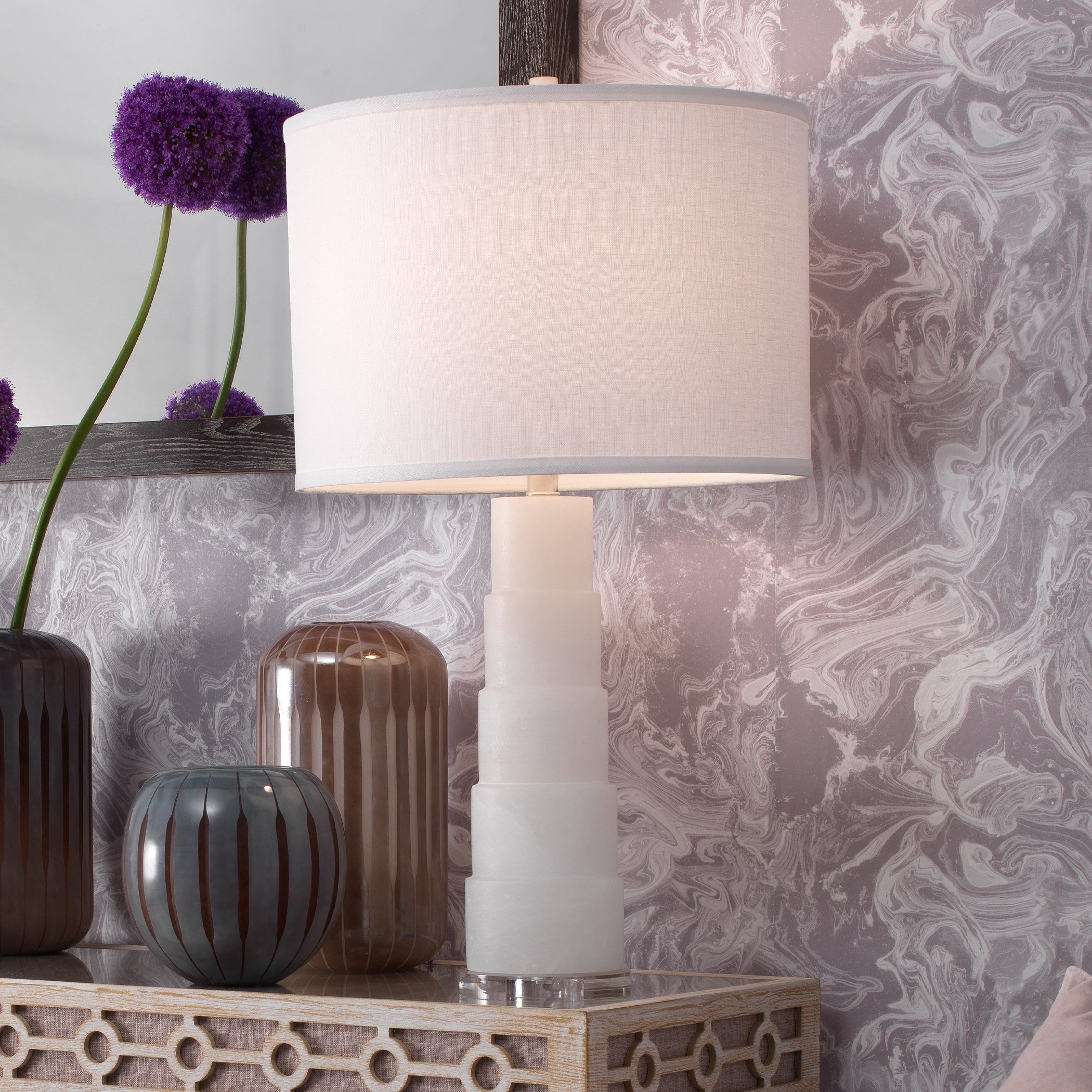 Photo of Caspian Table Lamp in White Alabaster
