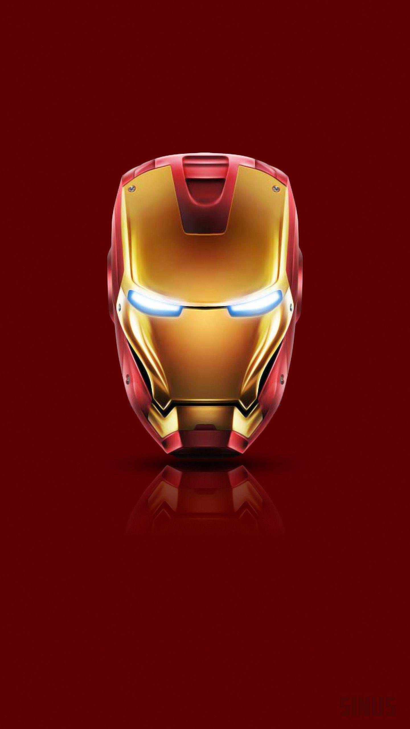 ironman red bg, iron mask, mirror effect, iron man mobile background