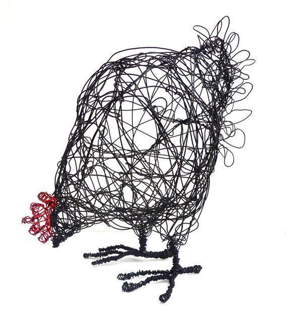 Wire Hen Sculpture PDF instructions & template: | bRICO Fil de fer ...