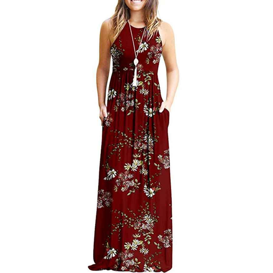 Casual Dresses Maxi For Sleeveless Casual Summer Floral Maxi Dress With Pockets Vestidos [ 900 x 900 Pixel ]