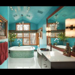 teal bathroom with tub and large mirror   bathroom color