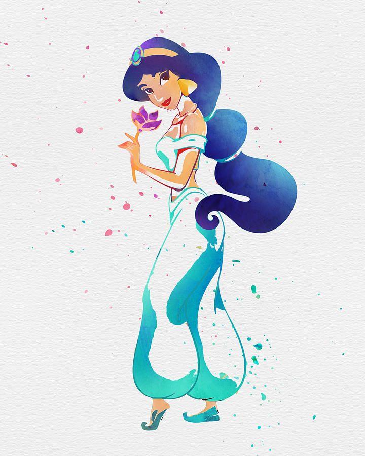 princess jasmine print, princess print, disney princess, watercolor