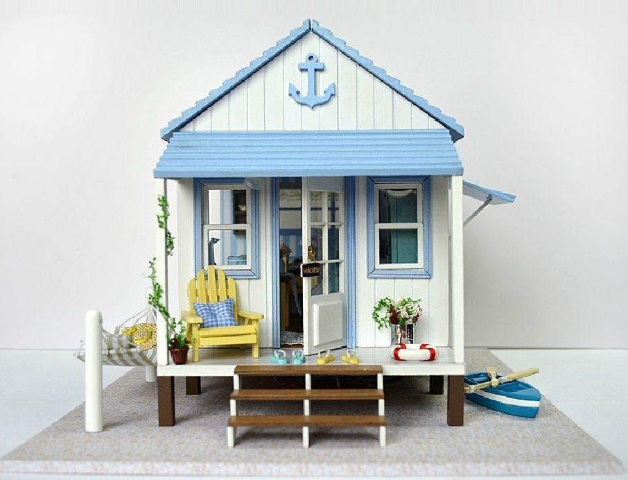 Miniature dollhouse diy kit beach house with voice control for Beach house kit homes