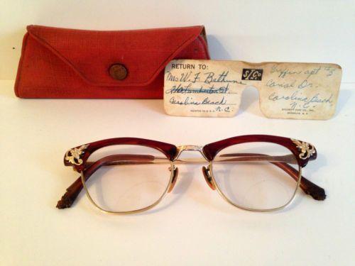 Vintage Art Craft Woman's Glasses 12K Gold Framed Eyeglass w Case Orignal Red | eBay