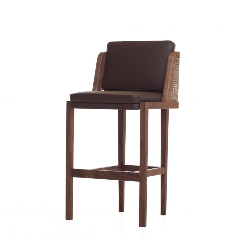Suite Wood - Throne Barstool with Rattan