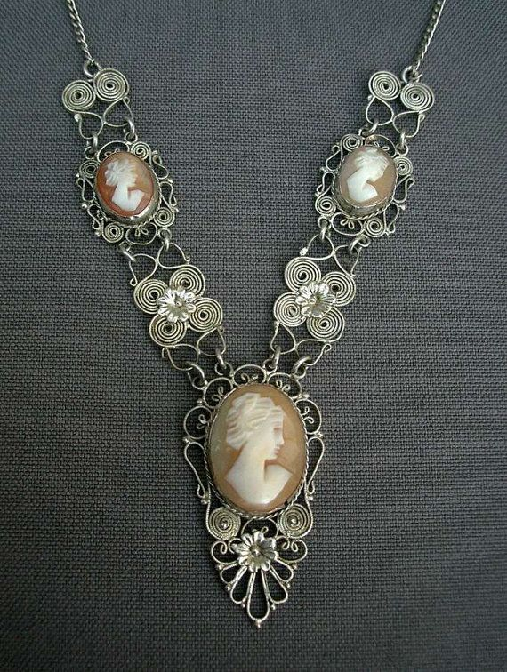 French antique 1910s art nouveau  Hand-Carved Shell Cameo Pendant silver filigree necklace