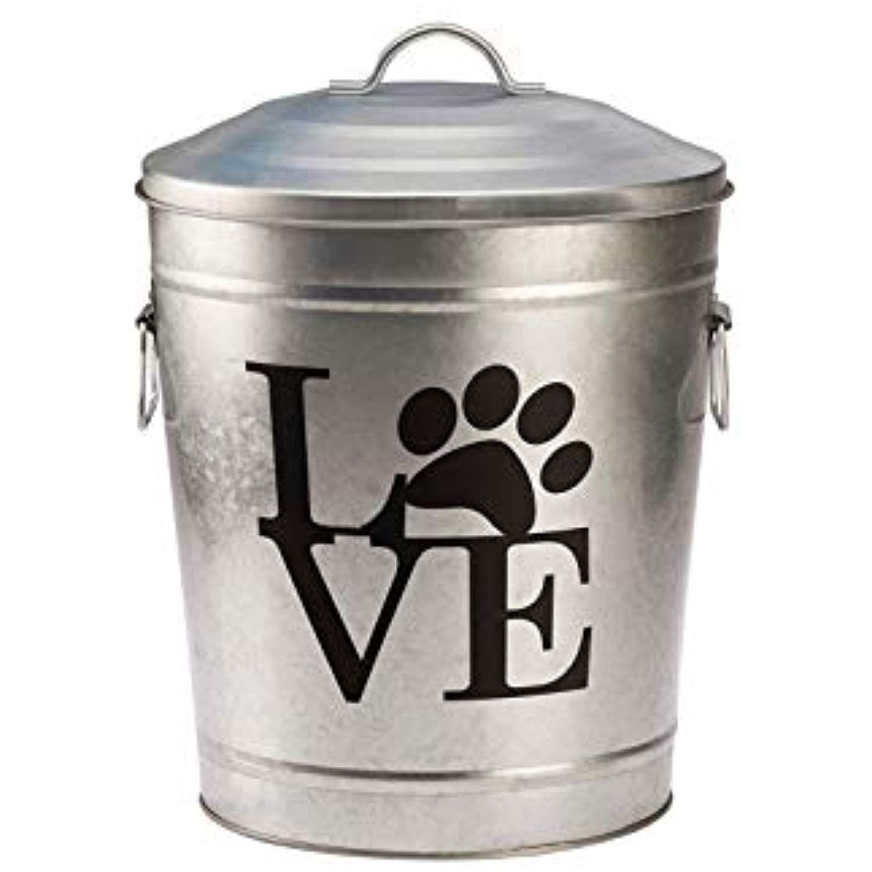 Pooch Pantry Love Galvanized Metal Pet Food Storage Bin Want To
