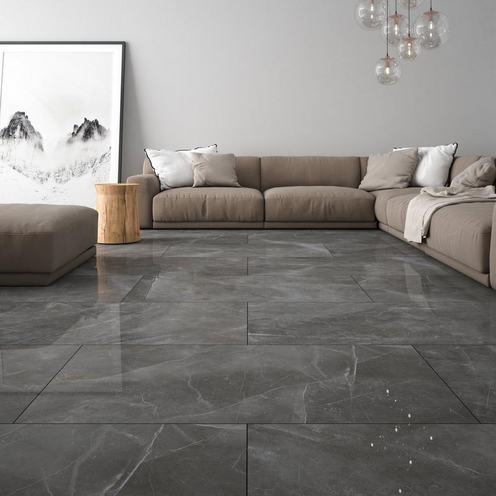 Turin Grey Polished Porcelain Tile In 2020 Grey Polished Porcelain Tiles Grey Flooring Grey Tiles Living Room #stone #flooring #for #living #room