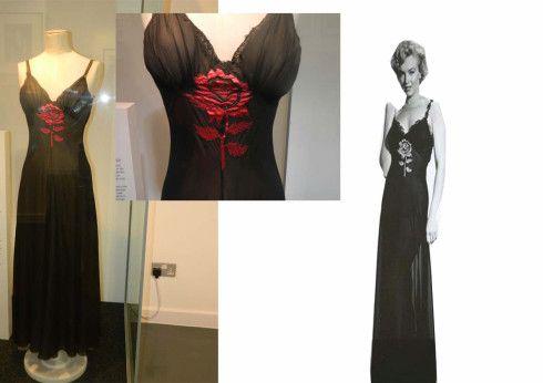 "Black silk Negligee with sewn in rose detail worn in ""Niagara"", 1952."